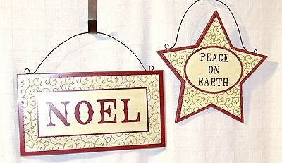 Sunset Vista Designs Wooden Holiday Noel & Peace on Earth Star Hanging Signs