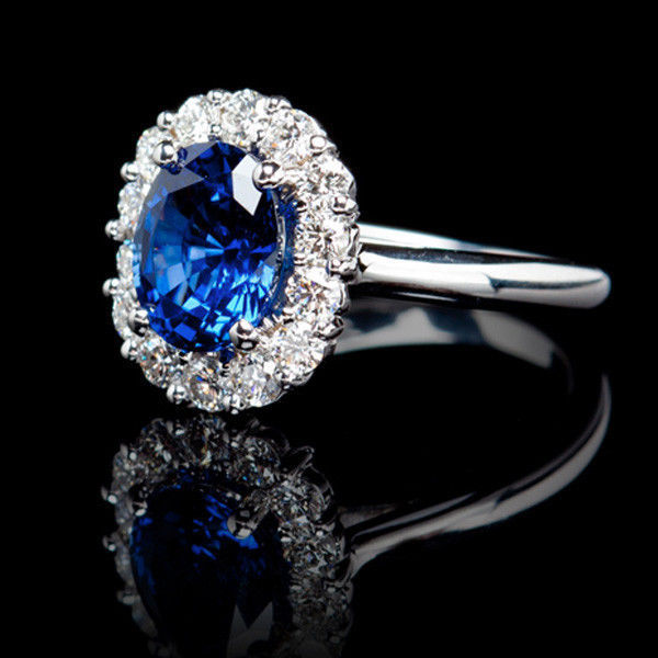 2.48 CARAT HALO 14K DIAMOND CLUSTER OVAL WHITE GOLD BLUE SAPPHIRE RING SIZE 7