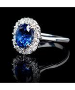 2.48 CARAT HALO 14K DIAMOND CLUSTER OVAL WHITE GOLD BLUE SAPPHIRE RING S... - $1,276.11