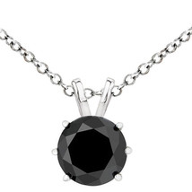 2 Carat Natural Black Diamond 6 Prong 14K White Gold Solitaire Necklace Chain - $237.58+