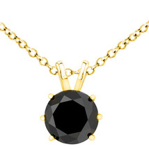 2 Carat Natural Black Diamond 6 Prong 14K Yellow Gold Solitaire Necklace Chain - $218.57+