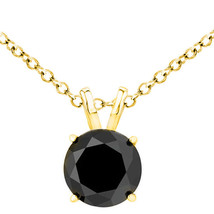3 Carat Natural Black Diamond 4 Prong 14K Yellow Gold Solitaire Pendant W/ Chain - $326.68+