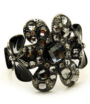 Big Flower & Butterfly Crystal Bangle Bracelet - $18.23