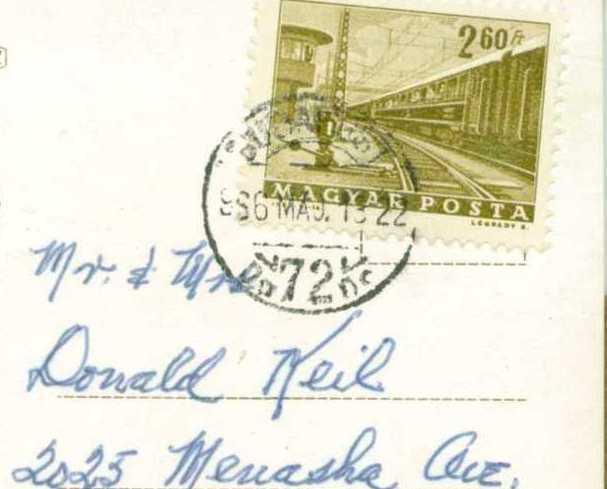 Postcard Vintage Photo Budapest Hungary  Postmarked Magyar Posta Stamp 260