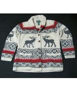 Ralph Lauren Hand Knit Reindeer Moose Beige Cardigan Wool  Sweater S Wom... - $108.85