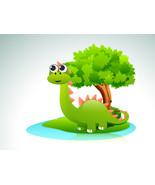 Beautiful Cartoon of Dinosaurs on Nature Backgr... - $3.00