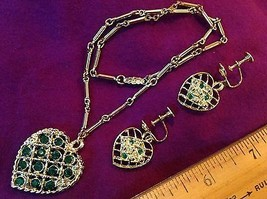 Gold Tone Necklace and Screw-On Earrings Green Rhinestones Hearts - $5.69