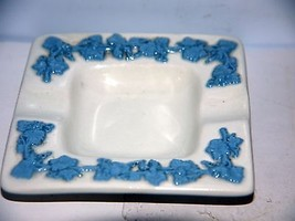 "Vintage Wedgwood 3 1/2"" Square Embossed Queensware Ash Tray White w/Blue Leaves - $9.66"