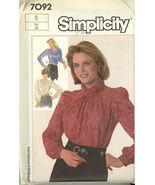 Simplicity 7092 Pleated draped Blouses Size 8  uncut  - $3.00