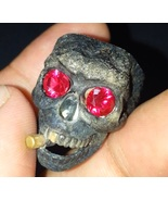 Cigar Skull gothic wedding engagement ring ruby eye 925 sterling silver-... - $99.90