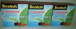 "3 Rolls 3M Scotch Transparent Greener Tape, 1"" Core, 3/4"" x 900"" each - $5.45"