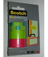 3 Rolls Scotch Expressions Tape Matte Blue Dots Green Hot Pink Color Wri... - $4.94