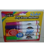 New 10 Color CraZArt Washable Dry Erase Broad Line Markers Bright Colors... - $9.89