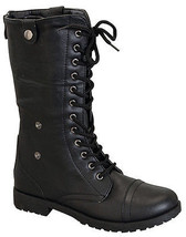 Soda Lace Up Low Heel Round Toe Foldable Military Combat Boot (Black) - $31.98