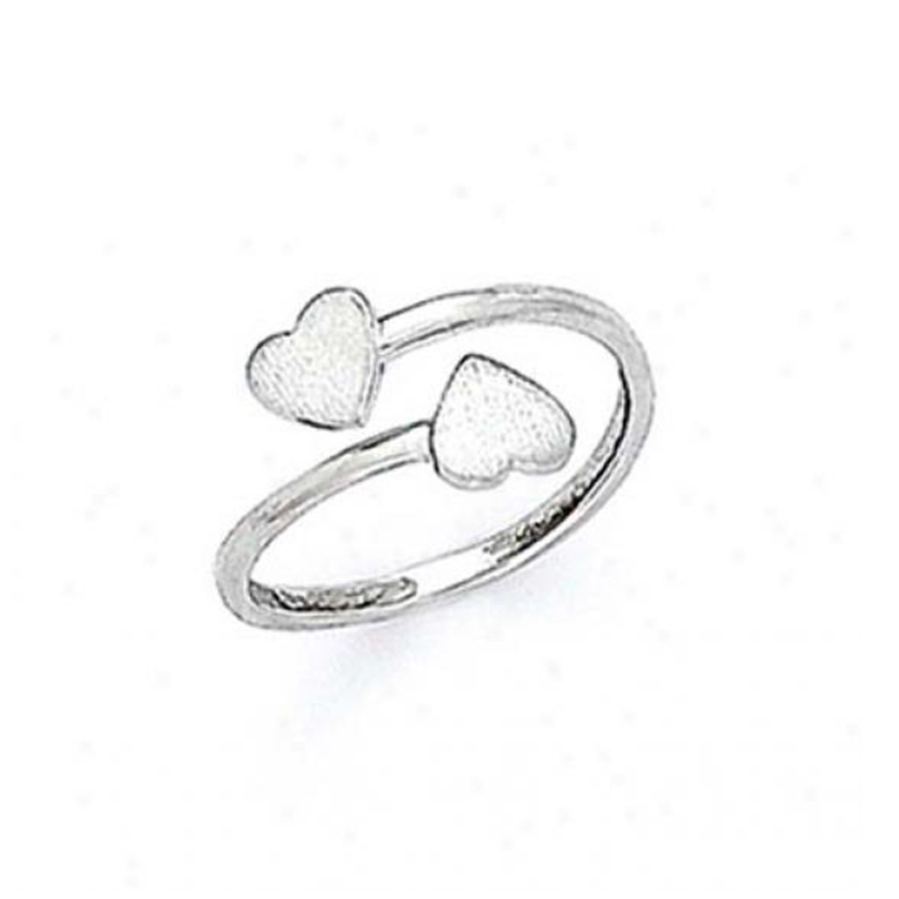 Primary image for 14K White Gold Finish 925 Silver Women's Special Double Heart Shape Toe Ring