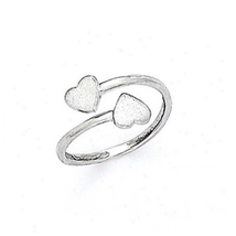 14k white heart toe ring thumb200