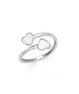 14K White Gold Finish 925 Silver Women's Special Double Heart Shape Toe ... - £8.13 GBP