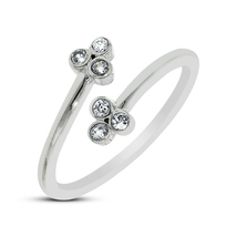 925 Sterling Silver White CZ Flower Design Toe Ring In 14K White Gold Fi... - $9.99
