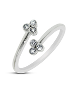 925 Sterling Silver White CZ Flower Design Toe Ring In 14K White Gold Fi... - £11.46 GBP