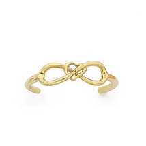 14K Yellow Gold Plated 925 Silver Beautiful Infinity Adjustable Ladies Toe Ring - £17.58 GBP