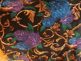 Purple And Blue Roses On Black Background  Knit  Fabric - $19.00
