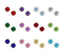 14K Gold Stud Screw Back Birthstone Earrings for Children, Women, Men ON SALE - $12.25+