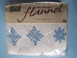 Jcp Home Collection Snowflake Flannel Full Sheet Set Ocean Blue/Cool White New - $38.61