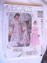 McCall's SEWING PATTERN # 5817 SPECIAL MOMENTS DRESSES SZ CE 3-4-5  FREE... - $4.70