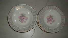 Homer Laughlin Pink Floral Apple Blossom Liberty Gold 8 soup bowls B52N6 - $50.00