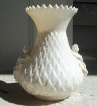 "Belleek ""Thistle"" Ivory Quilted Vase Green Mark 1955-1965 vintage - $75.00"