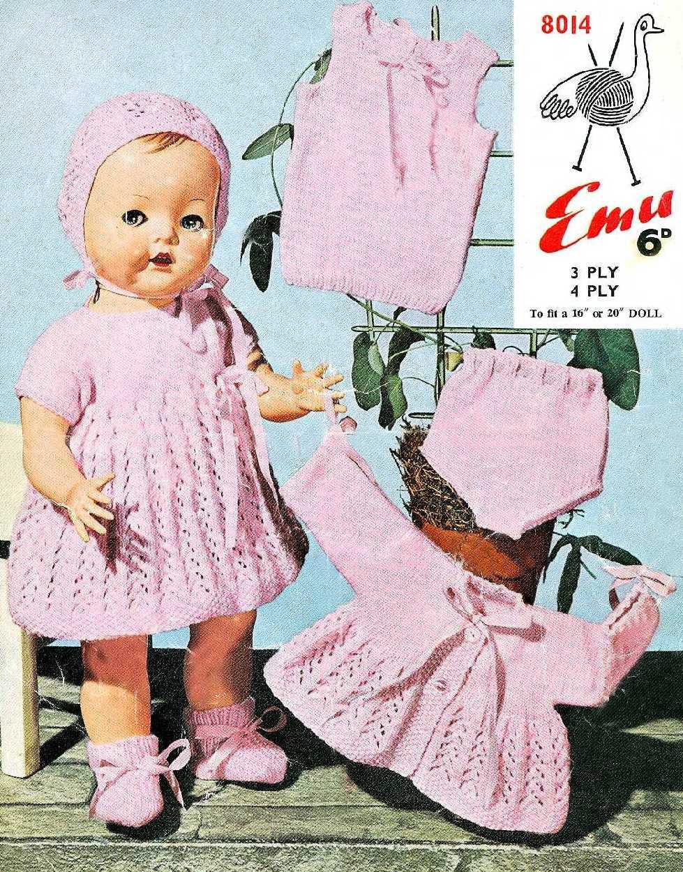 Vintage knitting pattern for baby dolls/reborns. Emu 8014 ...