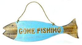 Hand Carved GONE FISHING SIGN Wooden Fish Wall Hanging Art Tiki Bar - $19.79
