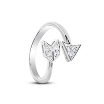 White Gold Plated 925 Sterling Silver Diamond Arrow Design Adjustable To... - $9.99