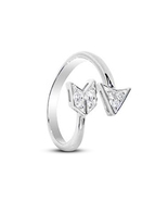 White Gold Plated 925 Sterling Silver Diamond Arrow Design Adjustable To... - £8.13 GBP