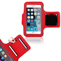 Sports Running Workout Gym Armband Arm Band Case Galaxy S5 S6 Edge Red - $4.88