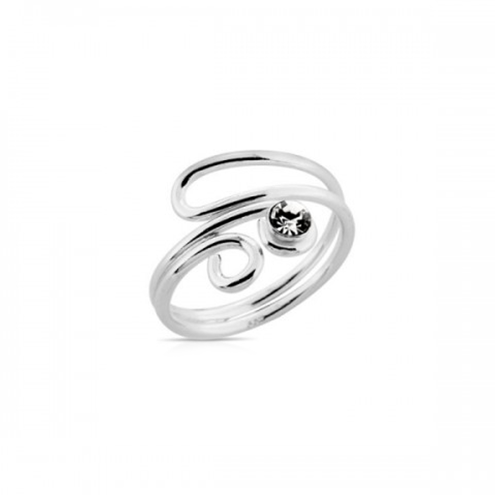 Ladies Special 14K White Platinum Fn 925 Sterling Silver Adjustable Toe Ring - £17.58 GBP