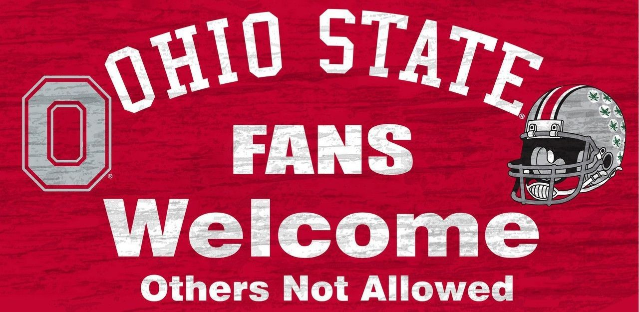 "OHIO STATE BUCKEYES FANS WELCOME WOOD SIGN with ROPE 12"" X 6""  NCAA MAN CAVE!"