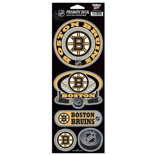 BOSTON BRUINS PRISMATIC HOLOGRAPH STICKER DECAL SHEET OF 5 NHL HOCKEY