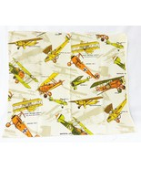 "Old planes printed drapery vintage fabric sewing 46""x19"" - $17.81"