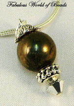 Drop Ball Gemstone Pendant Pyrite Austrian Crystal CAL Sterling Silver 925 - $10.83