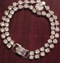 Double Strand Brilliant Rhinestone Bracelet Unsigned Prongset - $19.95