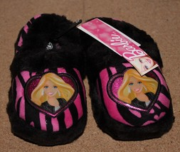 NEW GIRLS SIZE MEDIUM 7-8 BARBIE ZEBRA PRINT PLUSH EASY SLIP ON HOUSE SL... - $12.59