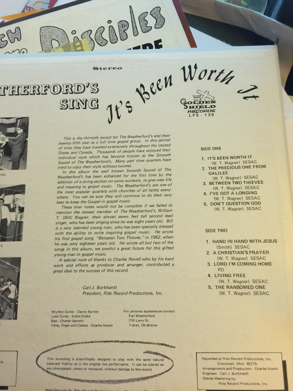 THE WEATHERFORD'S SING SIGNED 5X NEAR MINT VINYL RECORD
