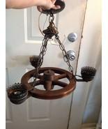 Vintage mid century wagon wheel chandelier ligh... - $75.00