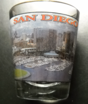 San Diego Shot Glass Clear Glass with Full Color Cityscape and Marina Vi... - $6.99