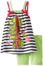 Baby Girl's Minnie Mouse Tank Top Bike Shorts Disney 2-piece Striped Shirt - $12.74