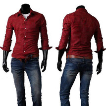 New Fashion Lattice Casual Men's Comfortable Full Sleeve Dress Shirts Size L Red - $18.69