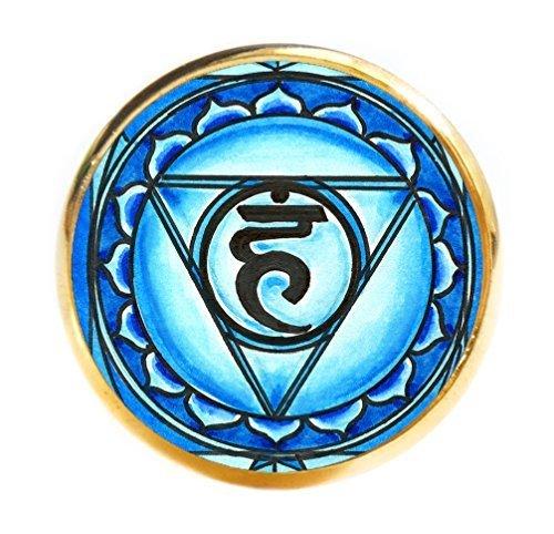 "5th Chakra Vishuddha 1"" Circle Gold Adjustable Ring"
