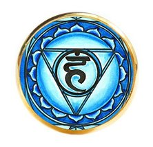 "5th Chakra Vishuddha 1"" Circle Gold Adjustable Ring - $14.95"