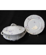 Antique LIMOGES Lidded Tureen and Plate White Purple Floral  - $170.00